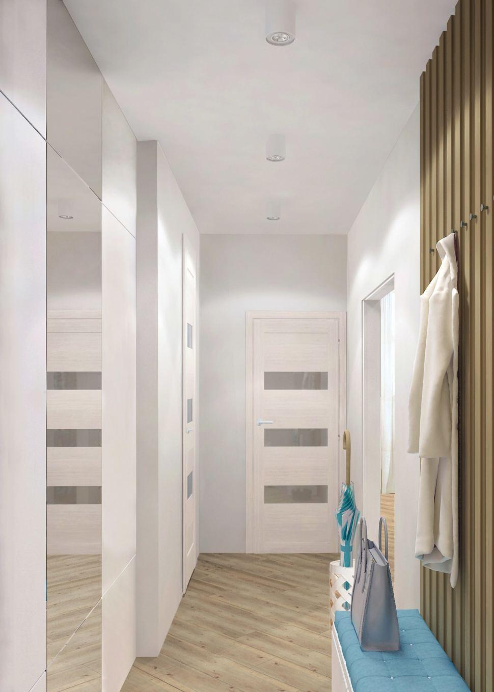 Дизайн прихожей 9 кв.м. в светлых тонах с акцентом, банкетка, открытая вешалка, деревянные бруски, шкаф