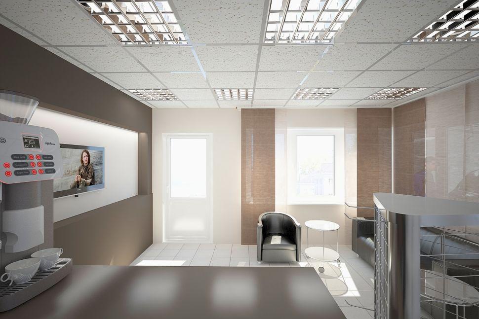 Дизайн - проект комнаты отдыха в кофейных тонах, журнальный столик, кресло черное, штора рулонная