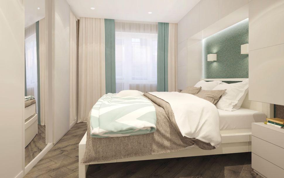 Гостиная - спальня 22 кв.м. в бежевых оттенках с бирюзовыми акцентами, текстиль в бежевых тонах, белая кровать