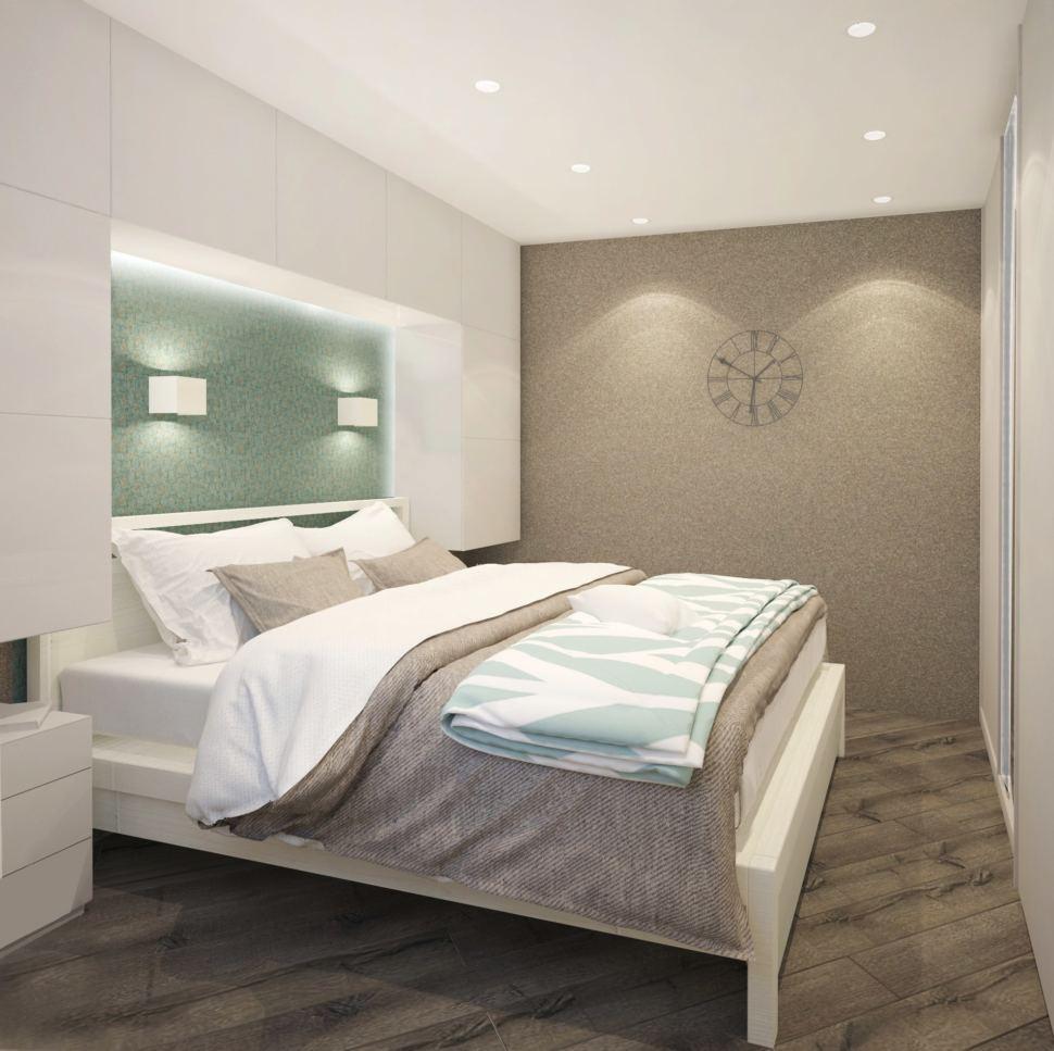 Гостиная - спальня 22 кв.м. в бежевых оттенках с бирюзовыми акцентами, камин, потолочная люстра, декоративная подсветка, дверь