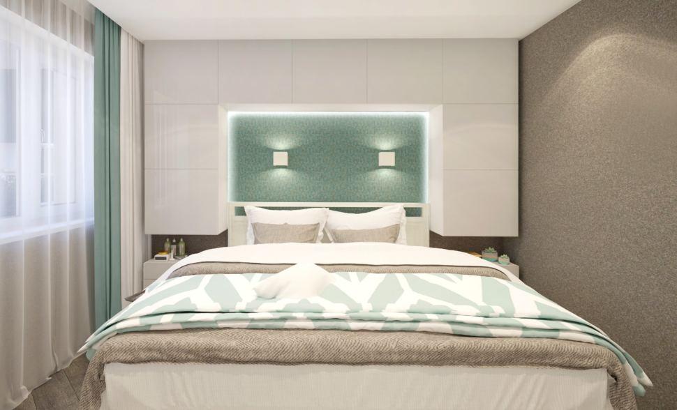 Гостиная - спальня 22 кв.м. в бежевых тонах с бирюзовыми оттенками, портьеры в два цвета, белая кровать, шкаф