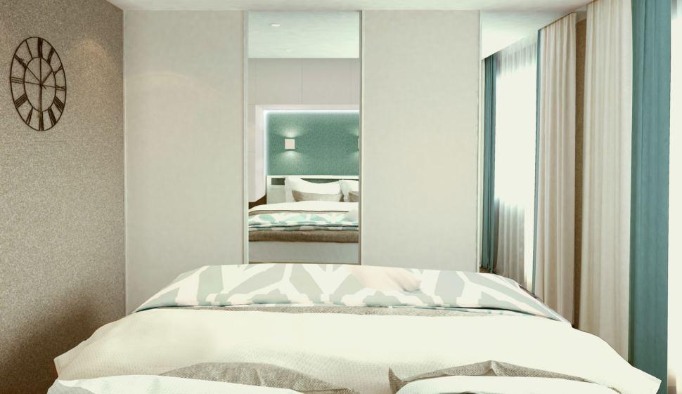 Гостиная - спальня 22 кв.м. в бежевых тонах с бирюзовыми оттенками, кровать, текстиль в песочных тонах,часы