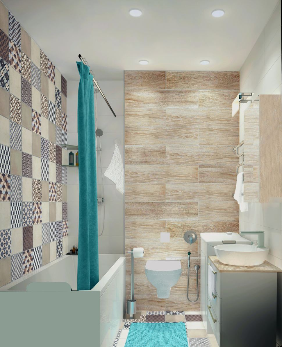 Интерьер ванной комнаты 3 кв.м. в светлых тонах, мойка, гигиенический душ, унитаз, плитка керамическая, орнамент
