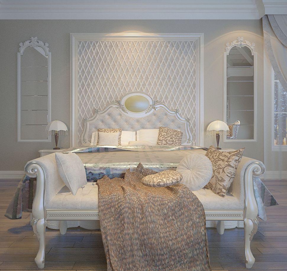 Проект спальни 30 кв.м в классическом стиле, зеркало, кровать, белая банкетка, прикроватные тумбочки, светильники