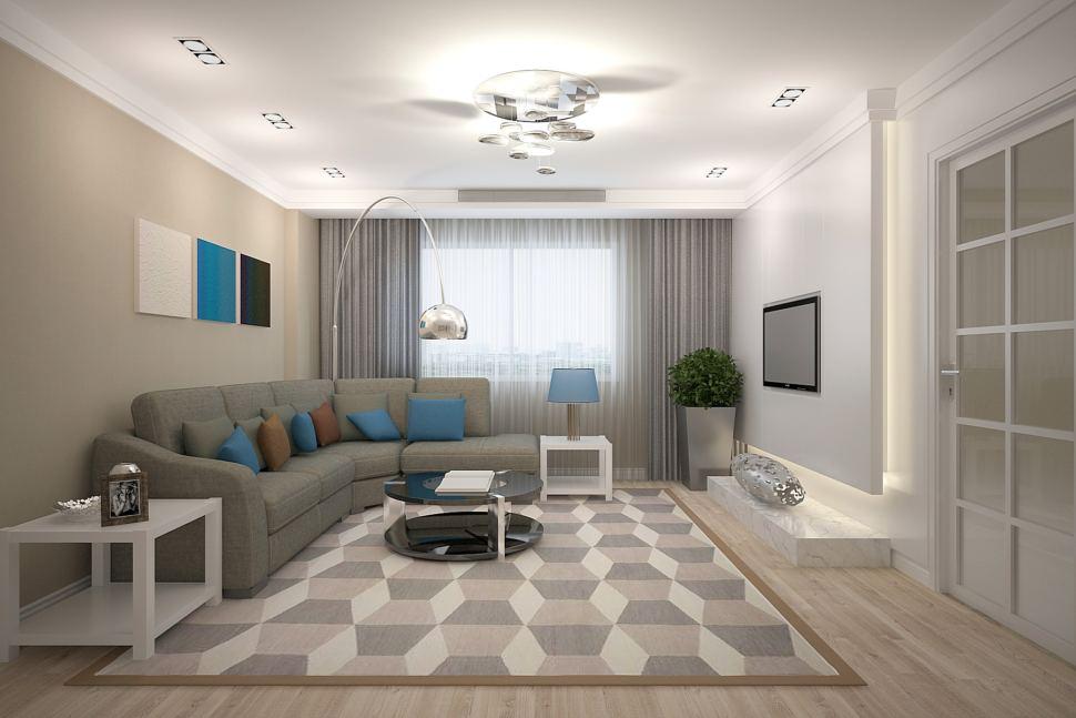 Интерьер гостиной 26 кв.м в бежевых тонах с синими акцентами, в бежевых тонах, серый диван, портьеры, торшер, черный журнальный столик