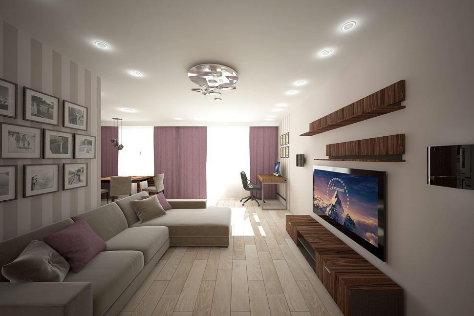 Интерьер гостиной 32 кв.м в бежевых тонах с акцентами, фиолетовые портьеры, бежевый диван, декор, обои, стол, тумба под ТВ