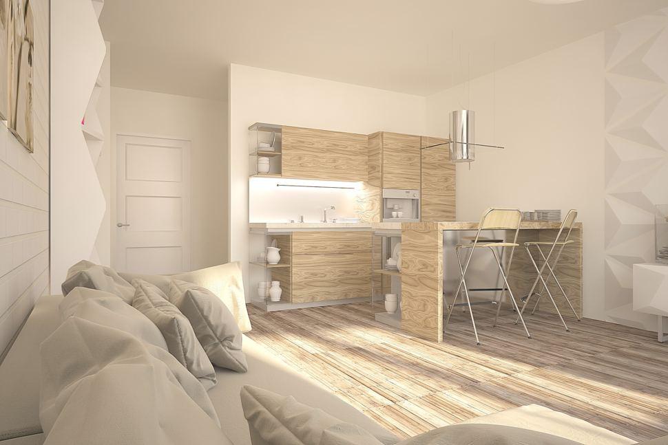 Дизайн комнаты 30 кв.м в теплых оттенках с акцентами, кухня под дерево, белый стеллаж, барная стойка, ламинат