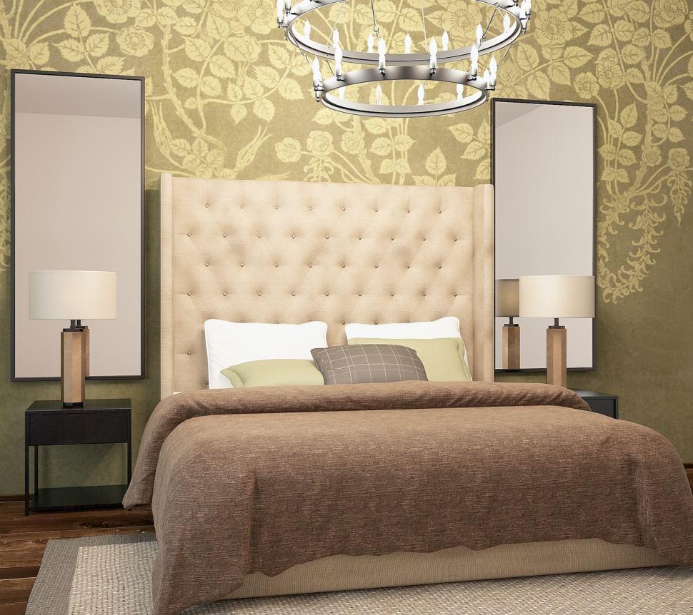 Проект спальни 18 кв.м в спокойных тонах, зеркало, черные прикроватные тумбочки, люстра, ковер, кровать