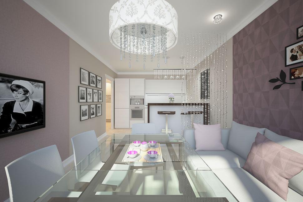 Дизайн комнаты 30 кв.м в бежевых тонах с нежно-фиолетовыми акцентами, обеденные стулья, голубой диван, барная стойка, люстра