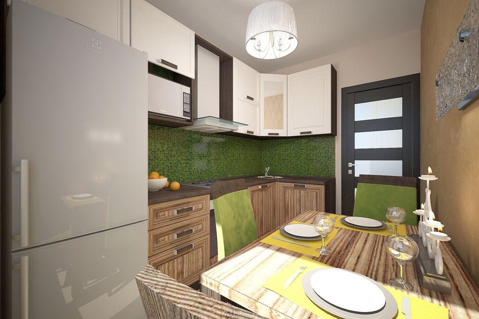 Визуализации кухни 16 кв.м в песочных оттенках с акцентами, люстра, зеленные стулья, стол, изумрудный кухонный фартук, вытяжка, холодильник