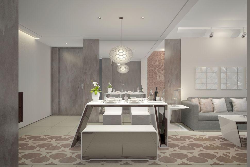 Дизайн гостиной 37 кв.м в современном стиле, декоративная штукатурка, обеденный стол, декор, ваза для цветов, подвесная люстра, белая скамья, серый диван