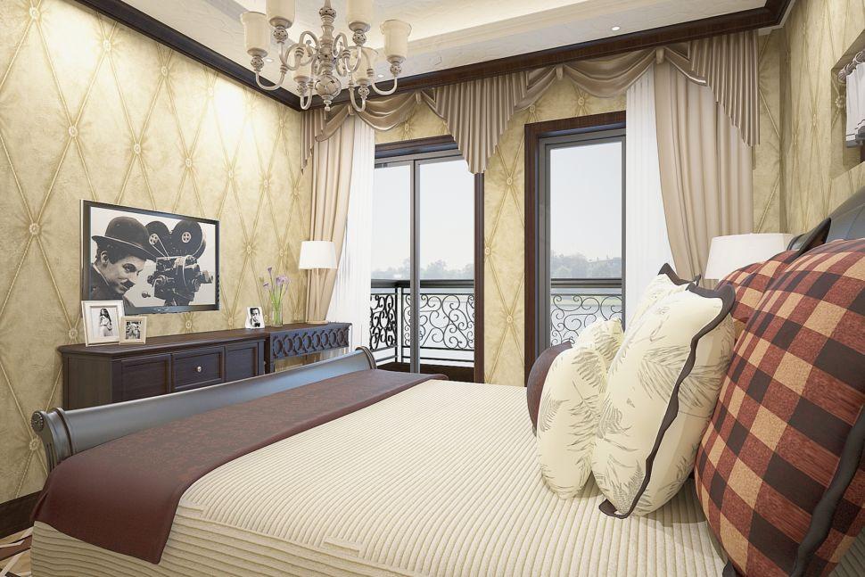 Визуализация спальни 16 кв.м в светлых тонах, прикроватные тумбочки, бежевая кровать, светильники, элементы декора, дизайнерские обои
