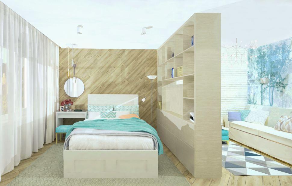 Интерьер комнаты 19 кв.м. в природных тонах с акцентами, диван, кирпич, люстра, пвх плитка, дизайнерская фреска