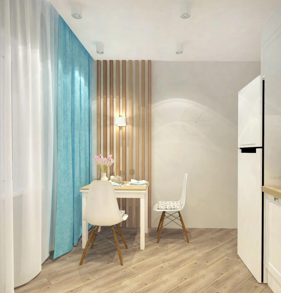 Дизайн кухни 9 кв.м. в бежевых тонах с бирюзовыми акцентами, акцентные портьеры, белый стол, стул, бруски