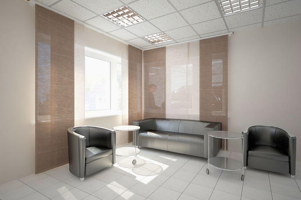 Дизайн-проект комнаты отдыха 30 кв.м. в кофейных тонах, журнальный столик, кресла и диван черные
