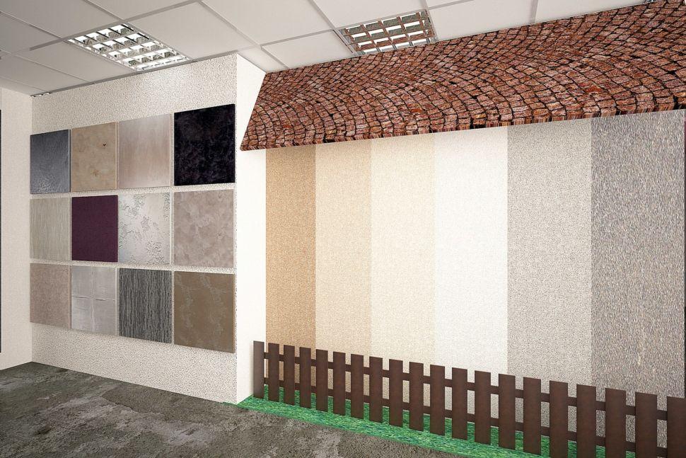 Проект помещения 60 кв.м в серых оттенках с акцентами, декоративная штукатурка, черепица, фасад, забор, светильники