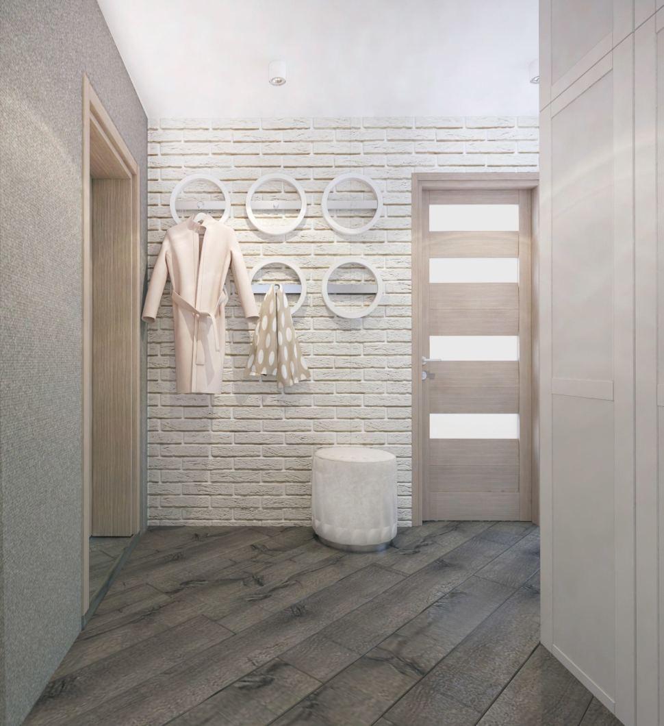 Визуализация прихожей 14 кв.м. в бежевом цвете, открытые вешалки, пуфик белый, межкомнатные двери под дерево