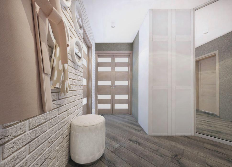Прихожая и коридор 14 кв.м. в бежевых тонах, шкаф белый, пуфик белый, межкомнатные двери, кирпич белый