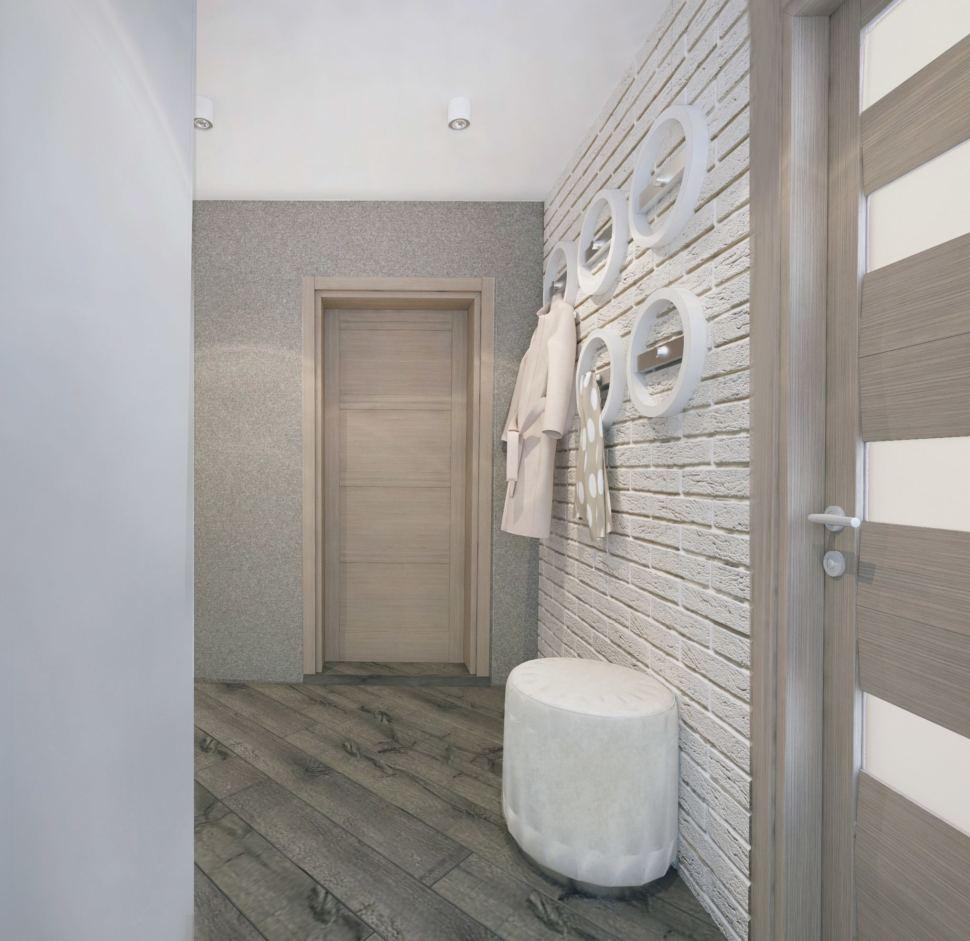 Прихожая и коридор 14 кв.м. в бежевых тонах, открытые вешалки, пуфик белый, межкомнатные двери, дерево