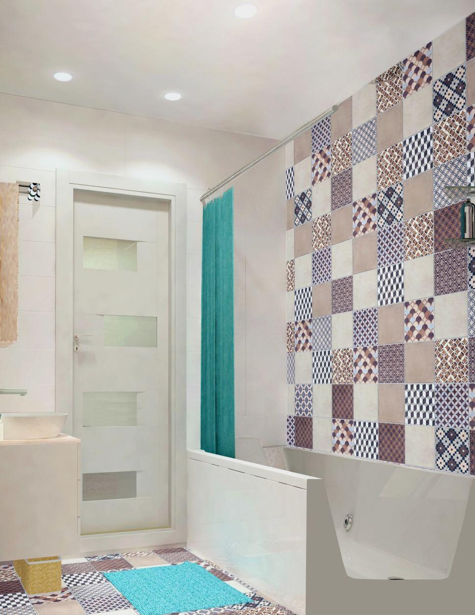 Дизайн ванной комнаты 3 кв.м. в светлых тонах, мойка, зеркальный шкаф, полотенцесушитель, плитка керамическая, орнамент
