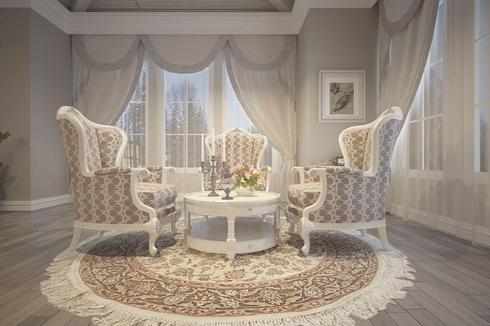 Дизайн спальни в классическом стиле, мансарда, портьеры, столик, кресло, ковер, люстра, декор, молдинг, потолочный плинтус