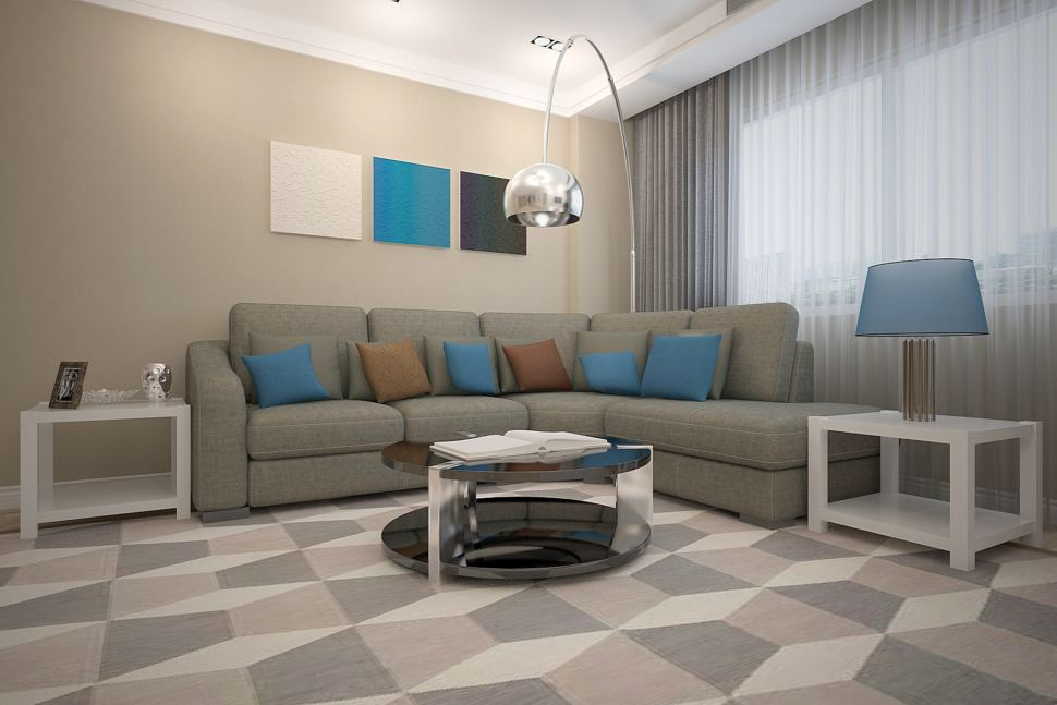 Интерьер гостиной 26 кв.м в бежевых тонах с синими акцентами, черный журнальный столик, серый диван, серые портьеры, торшер