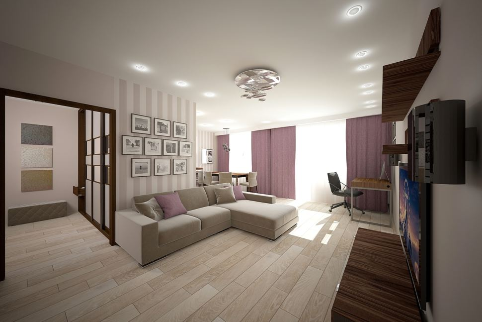 Дизайн гостиной 32 кв.м в бежевых тонах с акцентами, фиолетовые портьеры, бежевый диван, декор, обои, стол, стул
