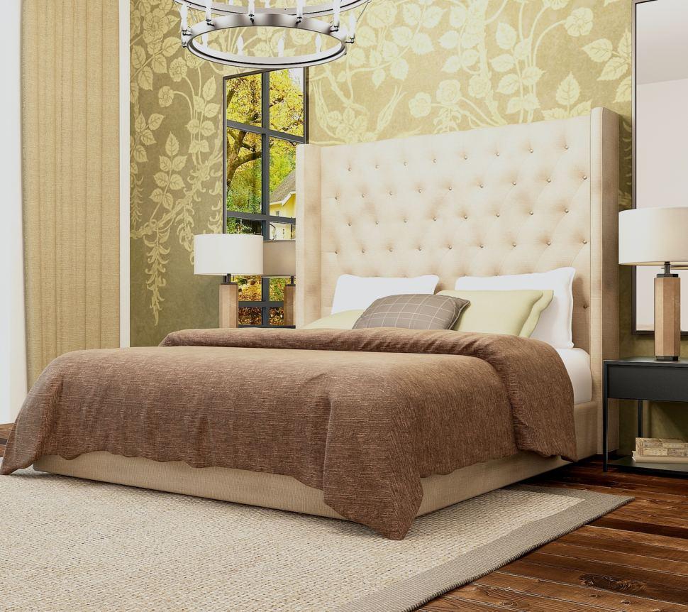 Интерьер спальни 18 кв.м в спокойных тонах, люстра, кровать, обои, бежевый текстиль, прикроватная тумба, зеркало, ковер