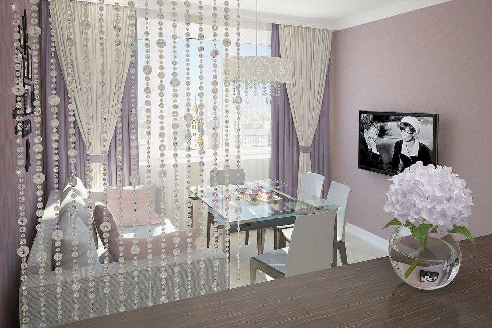 Визуализация комнаты 30 кв.м в бежевых тонах с нежно-фиолетовыми акцентами, обеденный стол, телевизор, диван, штора - перегородка