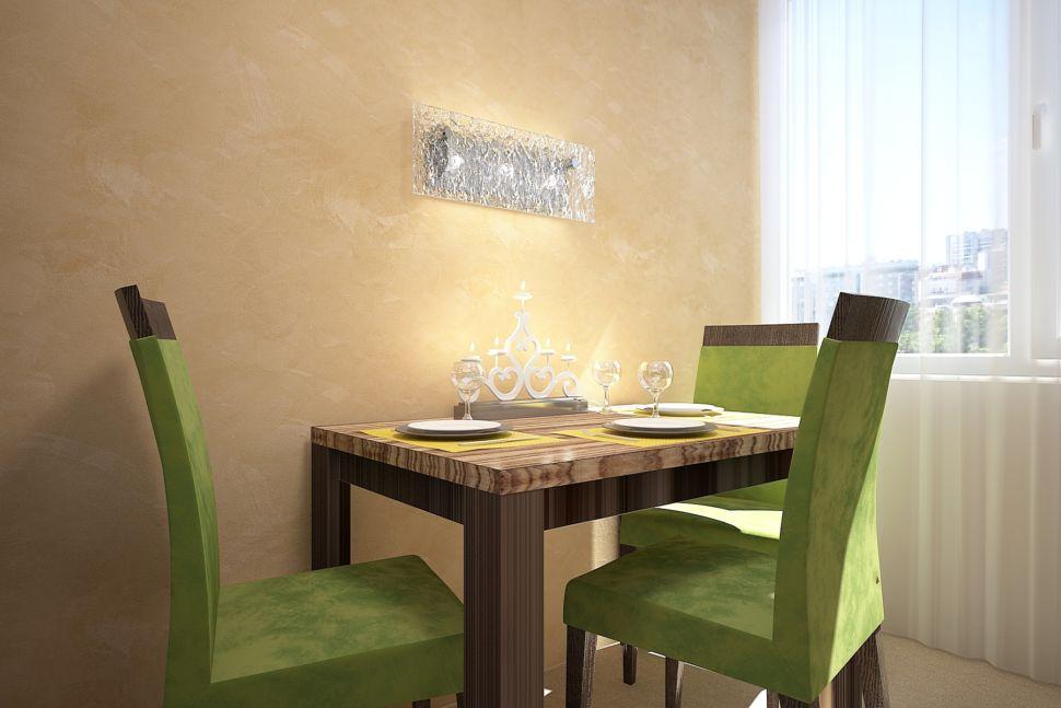 Визуализации кухни 16 кв.м в песочных оттенках с изумрудными акцентами, мягкие стулья, стол, бра, тюль