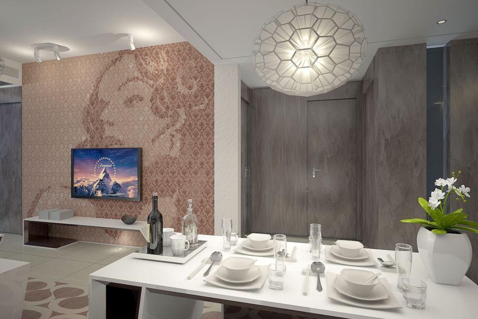 Дизайн гостиной в современном стиле, декоративная штукатурка, обеденный стол, декор, ваза для цветов, подвесная люстра, стена за телевизором