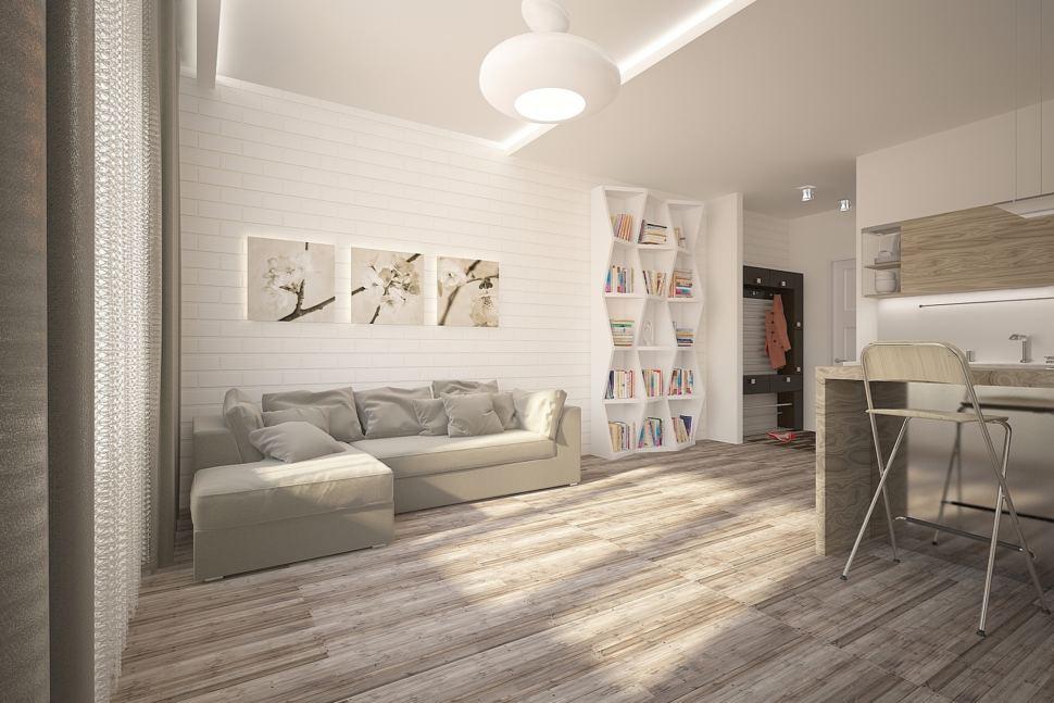 Визуализация комнаты 30 кв.м в теплых оттенках с акцентами, бежевый диван, стеллаж, барная стойка, барные стулья, люстра