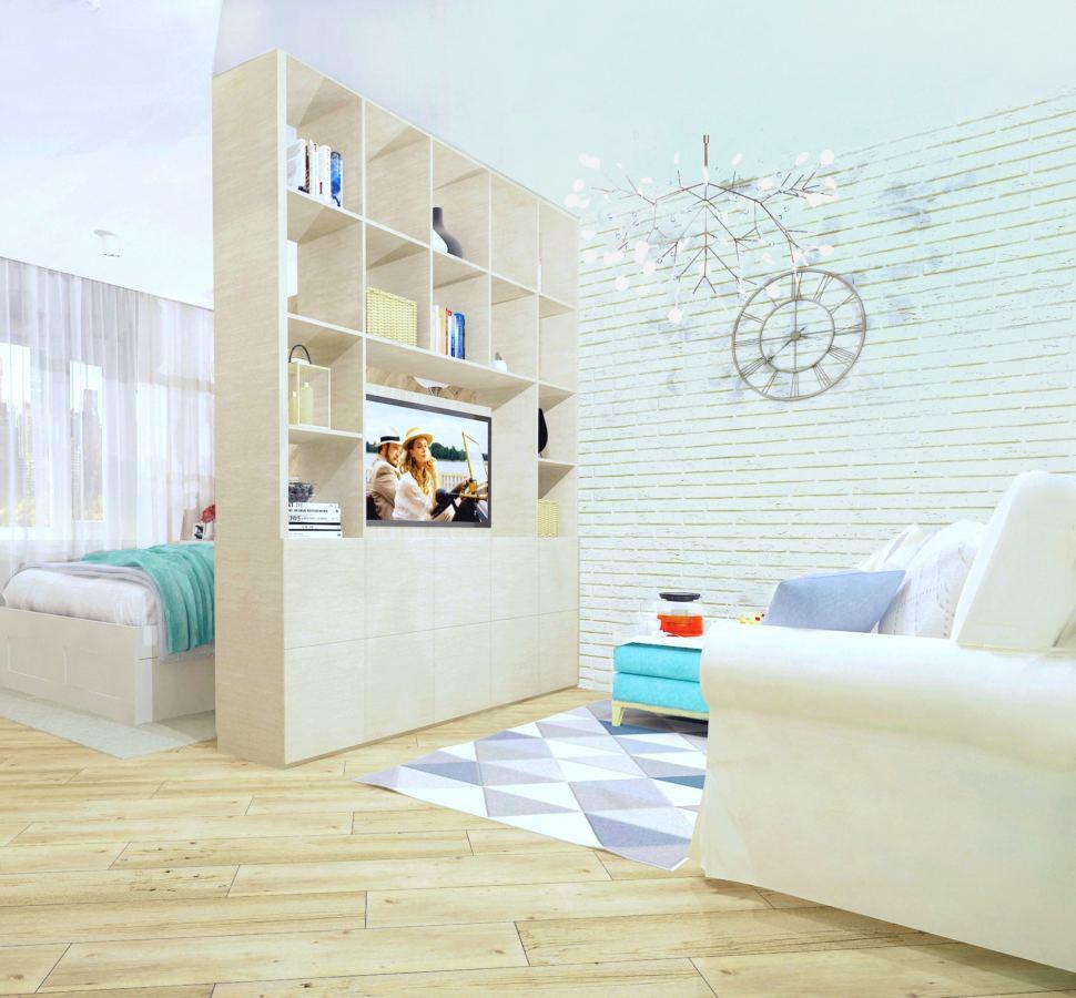Визуализация комнаты 19 кв.м. в природных тонах с акцентами, стеллаж, телевизор, журнальный столик, часы, кирпич, ковер