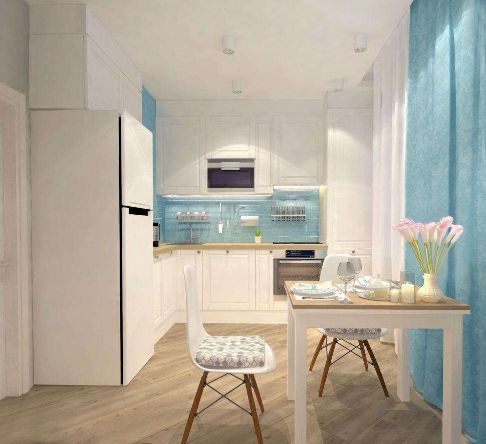 Визуализация кухни 9 кв.м. в бежевых тонах с бирюзовыми акцентами, стол, стул, кухня, бирюзовые портьеры