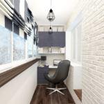 Лоджия 9 кв. м. в бежевом цвете, подвесные светильники, рабочий стол, керамический гранит, офисное кресло