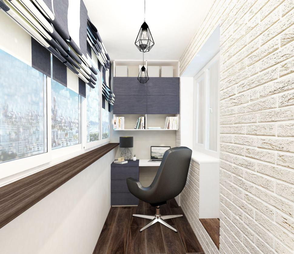 Дизайн лоджии 9 кв.м. в бежевом цвете, подвесные светильники, рабочий стол, керамический гранит, офисное кресло