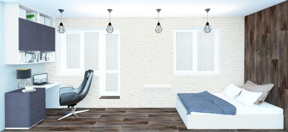 Лоджия 9 кв. м. в бежевом цвете, подвесные светильники лофт, стол, керамический гранит на стене, кровать, текстиль