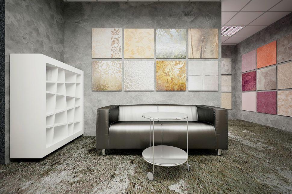Визуализация торгового помещения 60 кв.м в серых оттенках с акцентами, журнальный столик, белый стеллаж, черный диван, декор