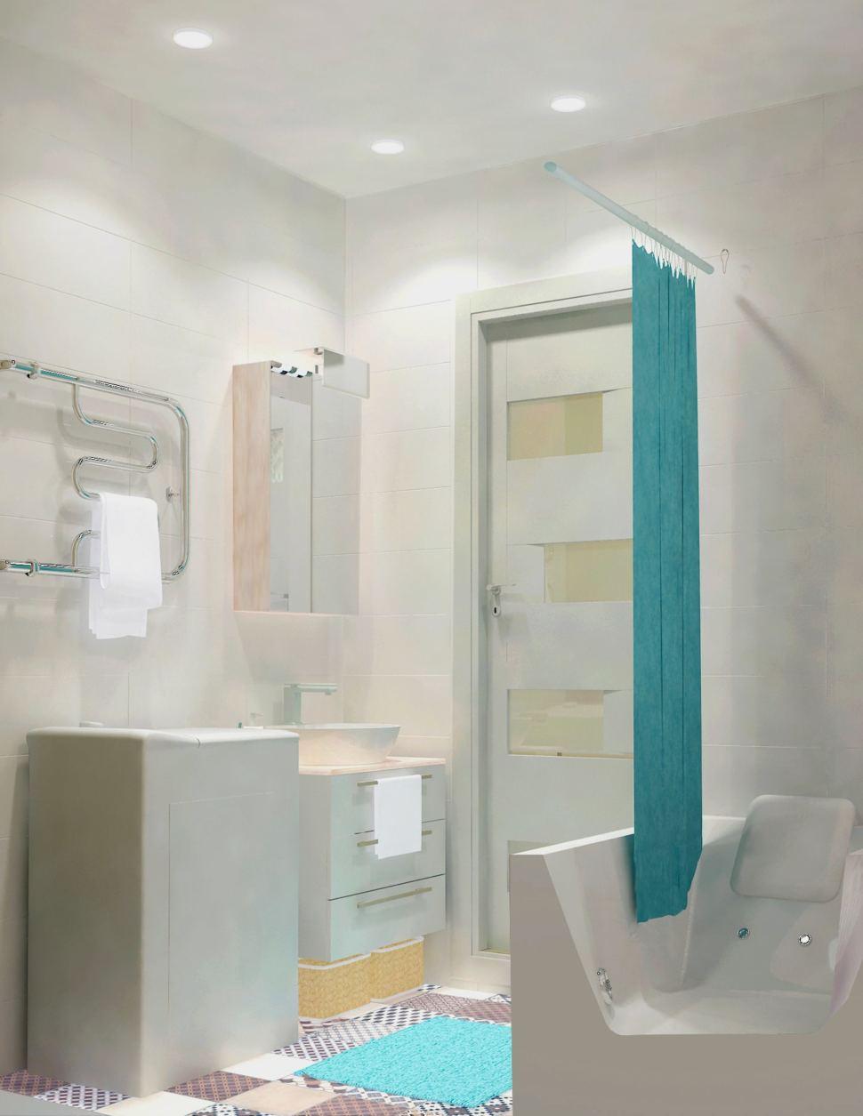Визуализация ванной комнаты 3 кв.м. в светлых тонах, мойка, зеркальный шкаф, полотенцесушитель, стиральная машина