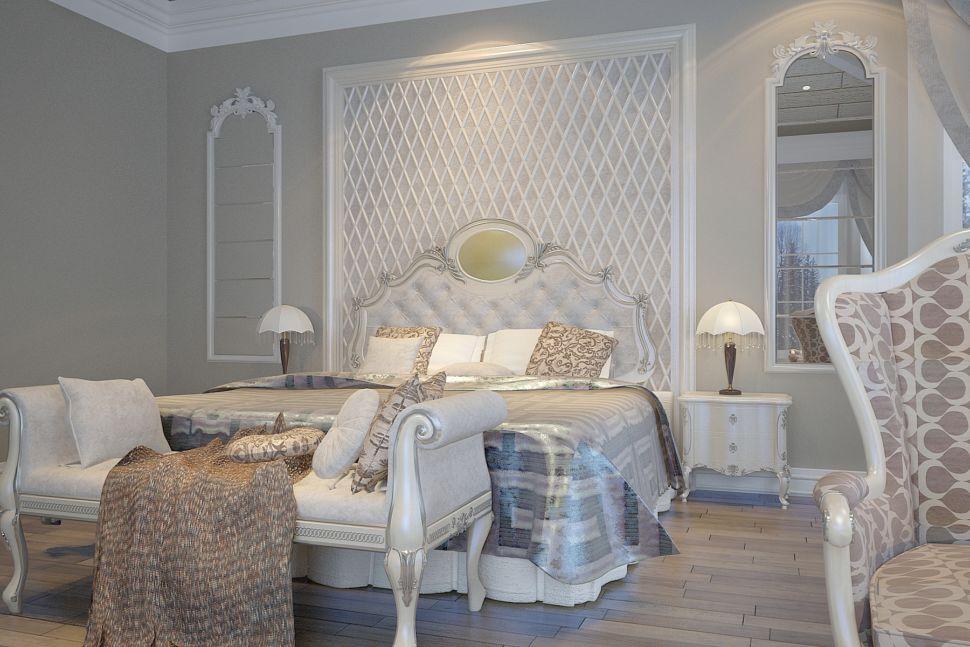 Проект спальни в классическом стиле, мансарда, кровать, банкетка, столик, кресло, ковер, зеркало, портьеры, молдинг