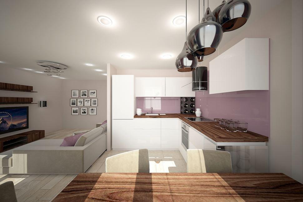 Проект кухни 32 кв.м в бежевых тонах с акцентами, белый кухонный гарнитур, подвесные светильники, холодильник
