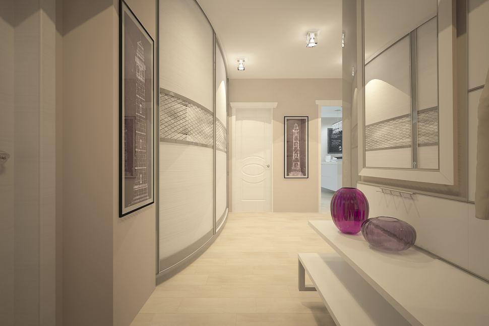 Дизайн прихожей 7 кв.м в бежевых тонах с кофейными акцентами, белая банкетка, зеркало, шкаф - купе, паркет