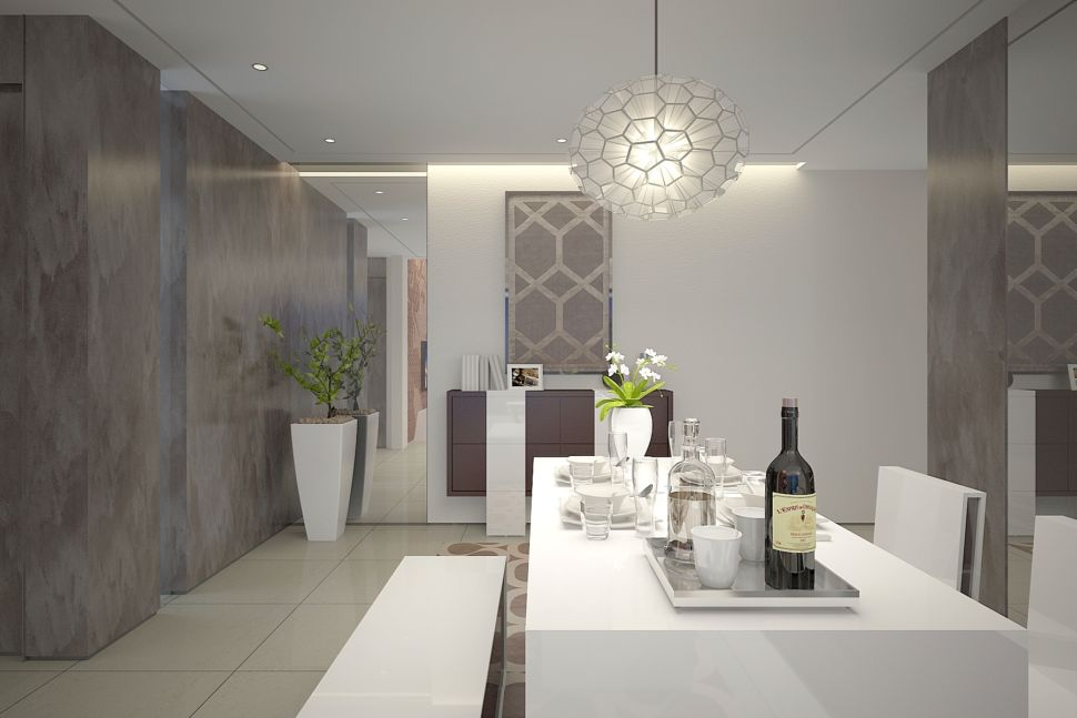 Визуализация гостиной 37 кв.м в современном стиле, обеденный обеденный стол, люстра, зеркало, элементы декора, тумбочка