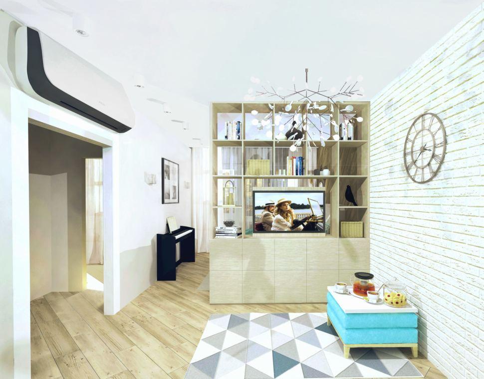 Визуализация комнаты 19 кв.м. в природных тонах с акцентами, пвх плитка, туалетный столик, подвесной светильник, зеркало
