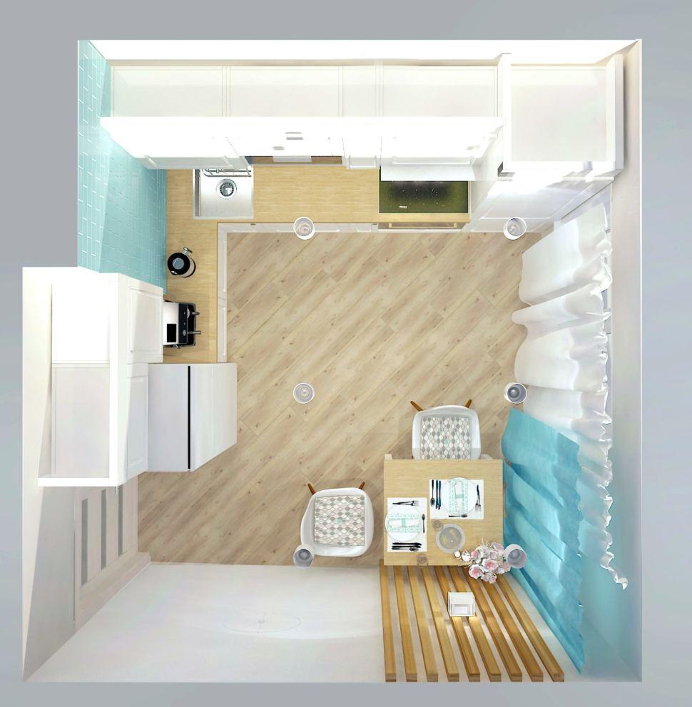 визуализация кухни 9 кв.м. в бежевых тонах с бирюзовыми акцентами, стол, стул, белая кухня, портьеры