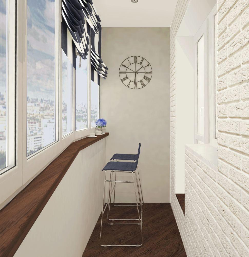 Дизайн лоджии 9 кв. м. в бежевых тонах, подоконник под дерево, барные стулья синего цвета