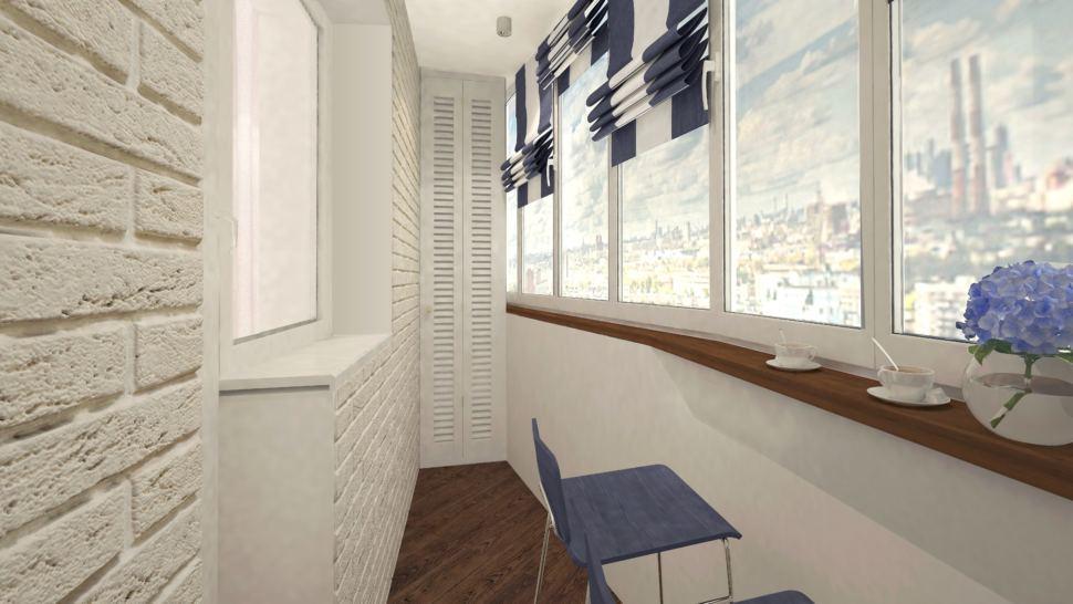 Лоджия 9 кв. м. керамогранит, кирпич гипсовый белый, подоконник - барная стойка, барные стулья сложного синего цвета