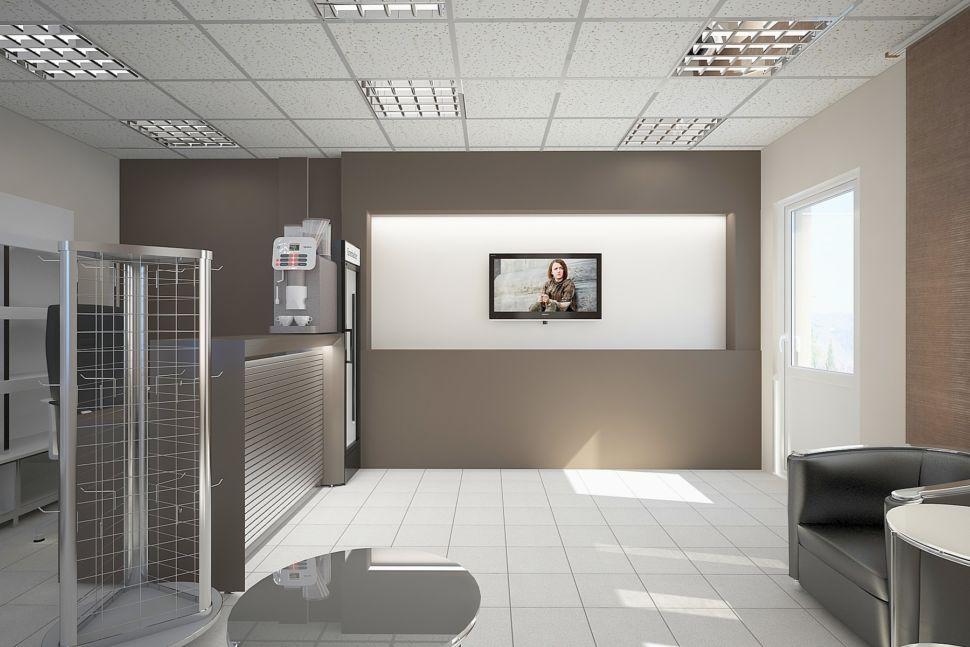 Визуализации комнаты отдыха 30 кв.м. Кофейные стены, телевизор, барная стойка, кресло