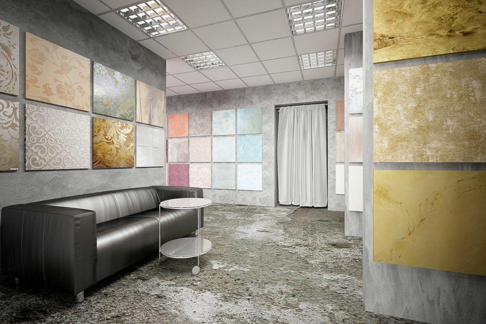 Дизайн-проект торгового помещения 60 кв.м в серых оттенках с акцентами, декоративная штукатурка, стенд, черный диван, ширма, журнальный столик, выставка