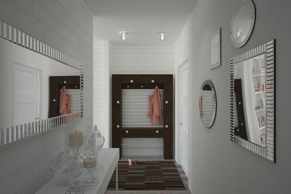 Дизайн-проект коридора 4 кв.м в светлых тонах, зеркало, элементы декора, подвесные светильники, тумба